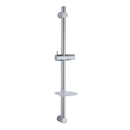 Wall Mounted Clear Soap Dish Stainless Steel Round Tube Sliding Shower Rail