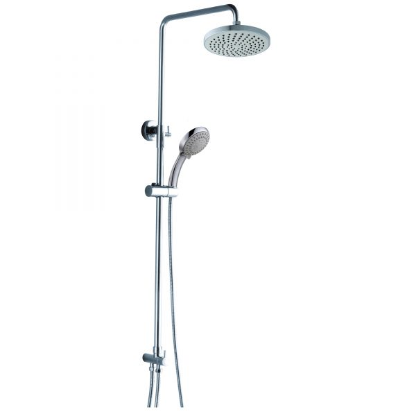 8 Inches Rain Shower 5 Way Hand Shower Brass Round Shower Pole