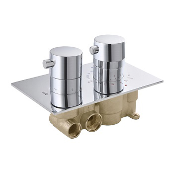 Concealed In Wall 2 Round Handle Brass Thermostatic Shower Valve