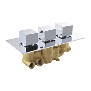 Concealed In Wall 3 Square Handle Brass Thermostatic Shower Valve