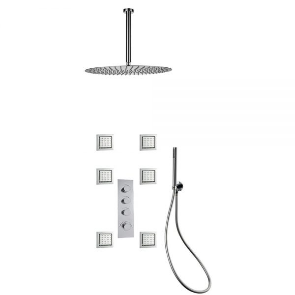 Embedded In Wall 3 Way Brass Thermostatic Shower Set