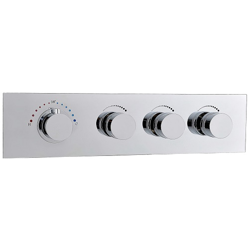Horizontally Wall Mounted 3 Function Brass Thermostatic Mixing Shower Valve