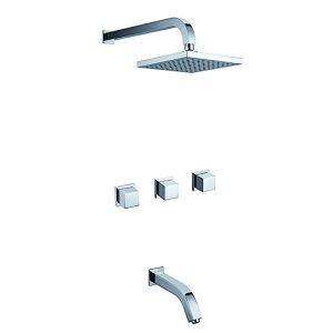 W 3 Lever Brass 2 Way Concealed Bath Shower Tap