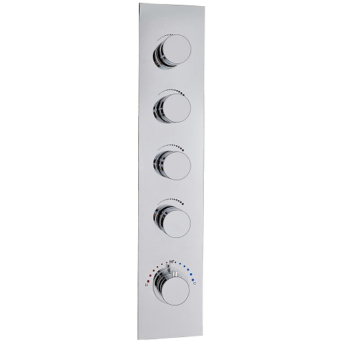 Vertically Wall Mounted 4 way Brass Thermostatic Mixing Shower Valve