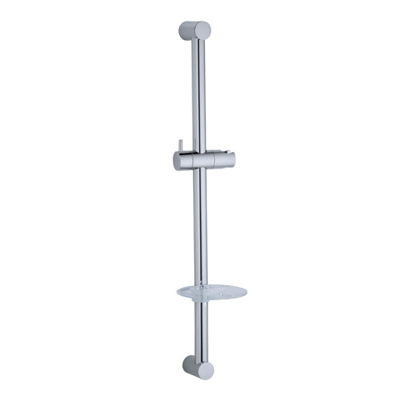 Wall Mounted Clear Soap Dish Stainless Steel Round Tube Sliding Shower Bar