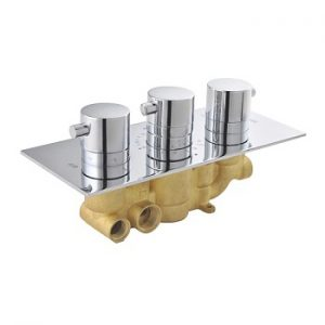 Concealed In Wall 3 Round Handle Brass Thermostatic Shower Valve