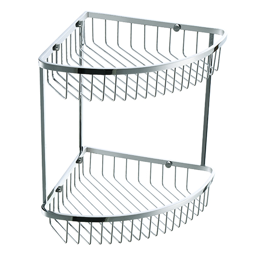 SUS304 Stainless Steel Double Tie Triangular Shower Basket