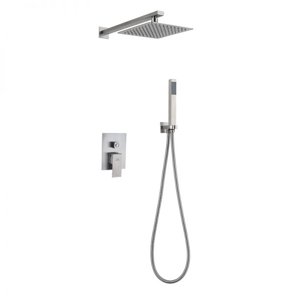10 Inches Square Rain Shower 2 Way SUS304 Stainless Steel Shower Valve