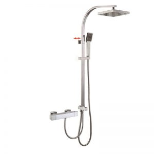 Flat Slide Rail Brass Thermostatic Shower