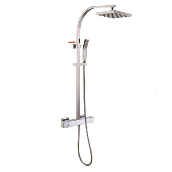 Flat Slide Pipe Brass Thermostatic Shower