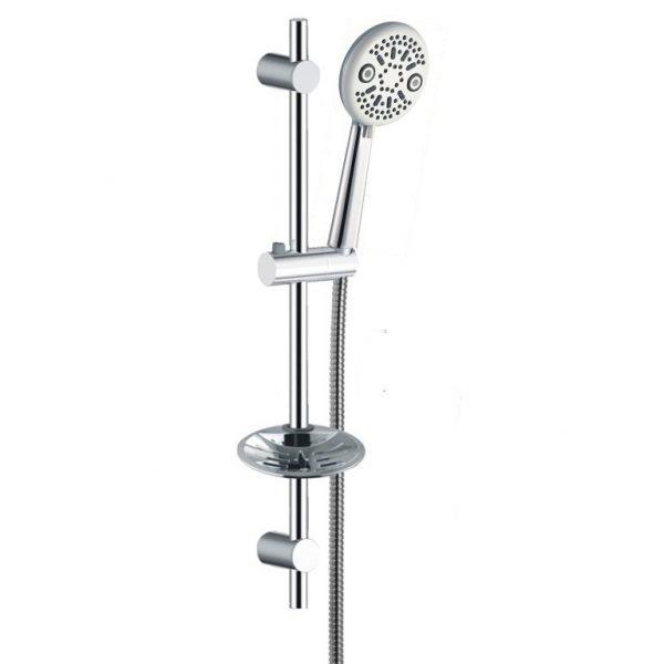Chrome Soap Dish Sliding Shower Rail 4 Function Hand Shower