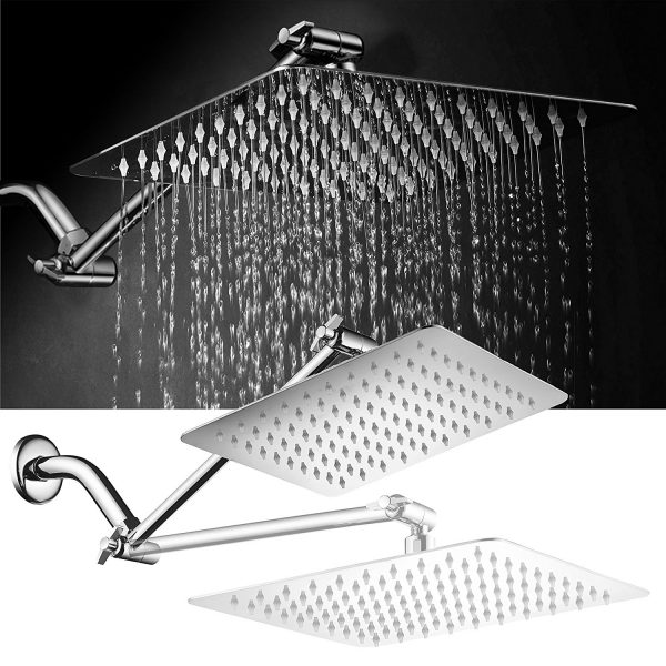 Height and Angle Adjustable Shower Arm Square 304 Stainless Steel Rain Shower