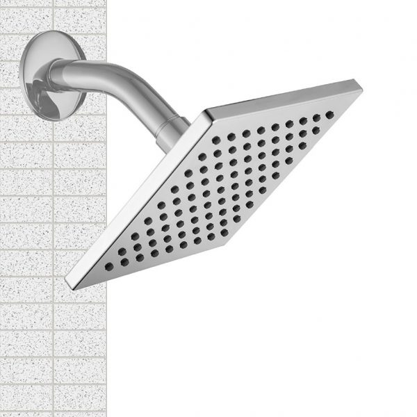6 Inches Square Chrome Face 304 Stainless Steel Cover Rain Fall Shower Head